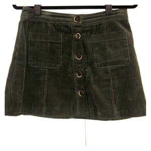 Zara green corduroy skirt
